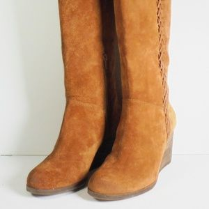Lucky Women's Knee High Oiled Suede Leather Boots